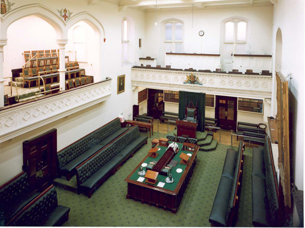 The Legislative Assembly Chamber in 1974, with white walls.