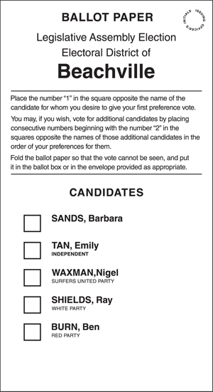 A Sample Ballot Form
